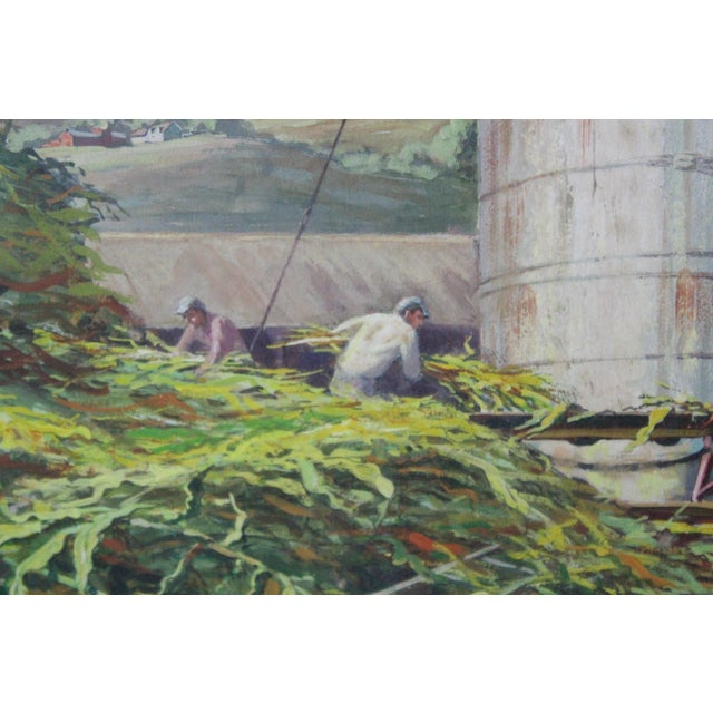 Caddell Farm Silo Gouche Scene Painting For Sale - Image 4 of 8