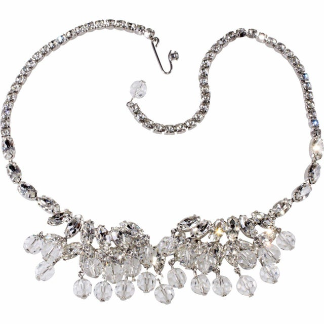 1950s Weiss Necklace Clear Navette Marquis Rhinestones Bead Dangles Vintage 1950s For Sale - Image 5 of 5