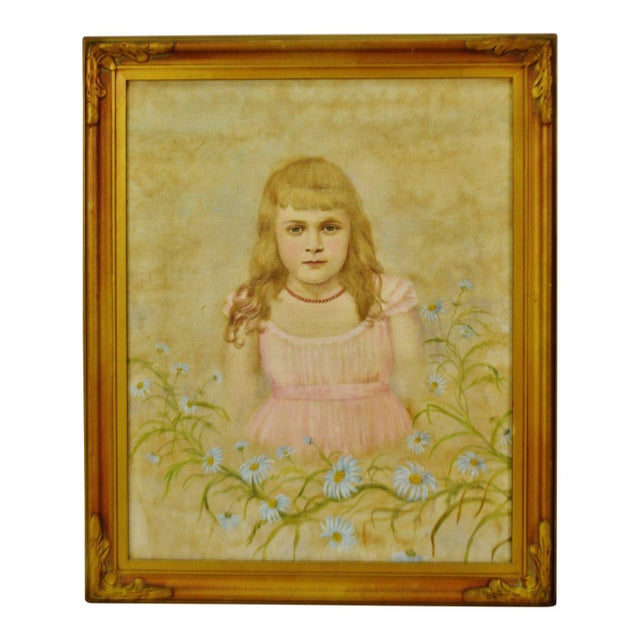 Antique Framed Victorian Style Painting on Canvas of Young Girl - Artist Signed For Sale - Image 13 of 13