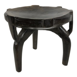 African HeHe Ebony Wood Stool For Sale