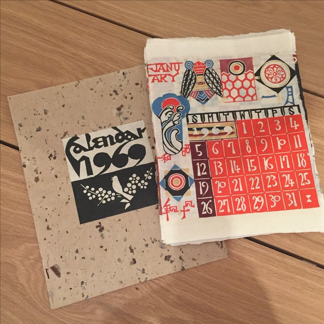 The original envelop is included with this 12 month 1969 calendar. Printed on handmade mulberry paper and published by...