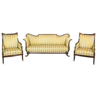19th Century Empire Style Historic Parlor Set - 3 Pieces For Sale