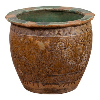 Chinese Antique Planter with Weathered Patina, Greek Key, Animals and Clouds For Sale