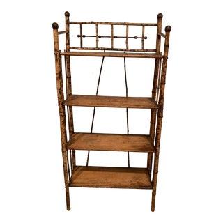 Vintage Boho Chic Bamboo Bookshelf For Sale
