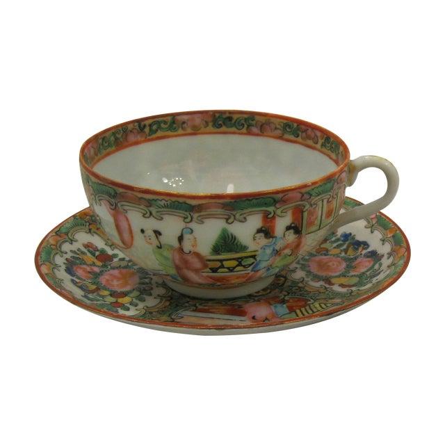 Antique 1850's Rose Medallion China Teacup Set - Image 1 of 4