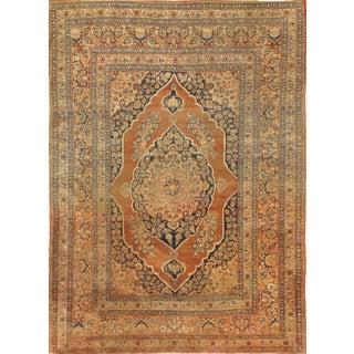 """Pasargad N Y Antique Persian Tabriz Rug - 4' 1"""" X 5' 6"""" For Sale"""