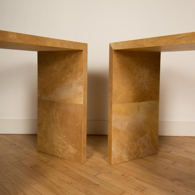 2020s Jean-Michel Frank Style Mid-Century Modern Parchment Console Tables - a Pair For Sale - Image 5 of 7