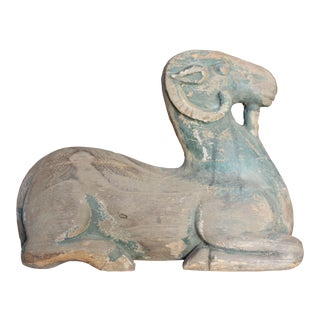 Hand Carved Wood Ram Sculpture For Sale