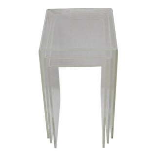 Vintage Modern Lucite Acrylic Waterfall Nesting Tables-Set of 3 For Sale