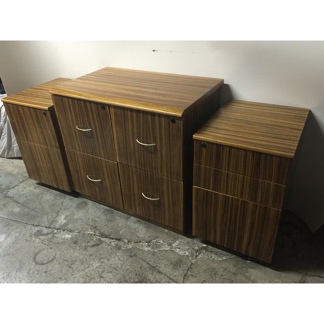Mid-Century Wood Filing Cabinet - Set of 3 - Image 3 of 8