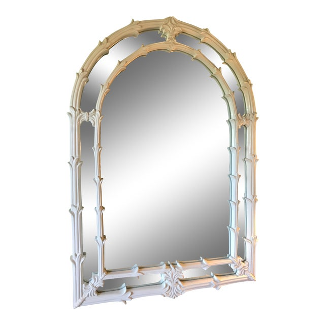 Vintage Coastal Regency Fleur De Lis Mirror For Sale