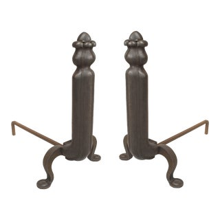 Art Nouveau Iron Andirons For Sale