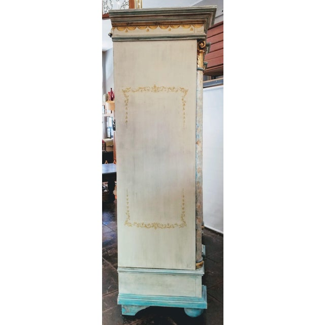 Mid 19th Century Antique Gustavian Swedish Neoclassical Painted Armoire / Wardrobe For Sale - Image 5 of 13