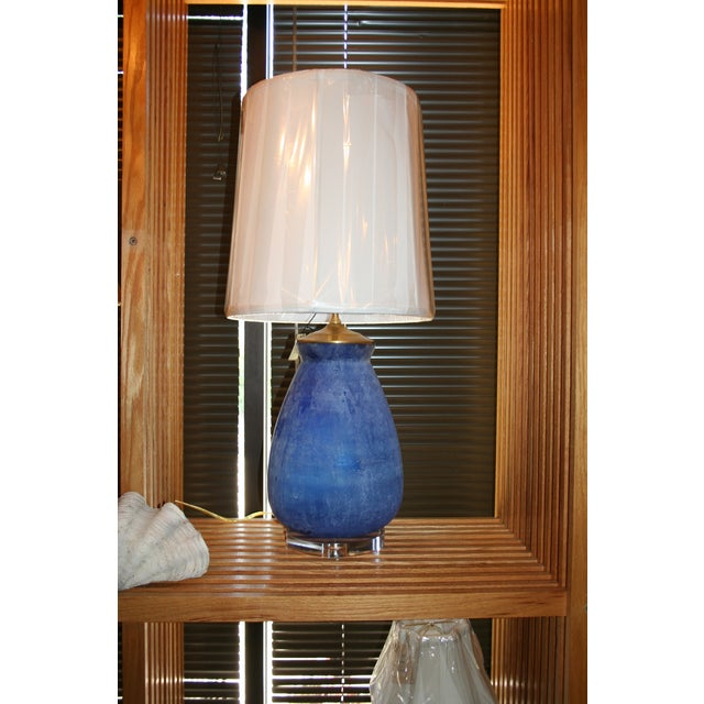 Modern Frosted Royal Blue Glass Table Lamp - Image 8 of 8