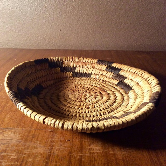 Native American Mid Century Papago Native American Style Coil Basket For Sale - Image 3 of 4