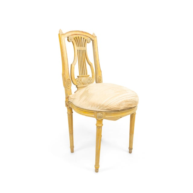 Gold French Louis XVI Lyre Side Chairs For Sale - Image 8 of 11