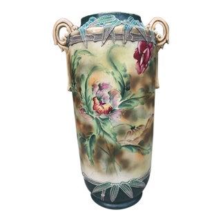 1860s Nippon Moriage Slip Floral Vase For Sale