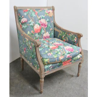 Louis XVI Gray Paint Distressed Bergere Preview
