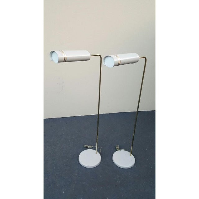 Gerald thurston floor lamps - 1960s rare pair of stylized space age lamps (2) gorgeous shades that hover like a space ship...