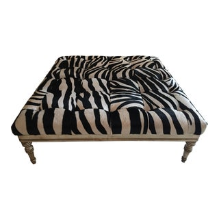 Contemporary Zebra Print Cow Hide Ottoman For Sale