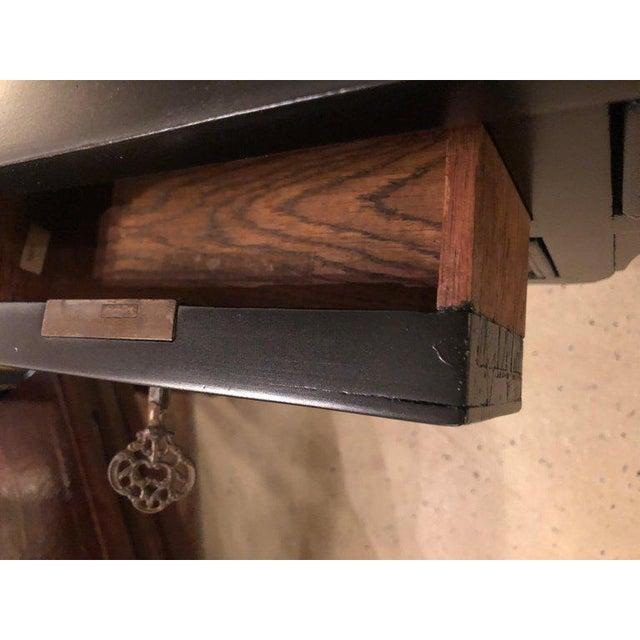 Animal Skin Ebony Louis XVI Inspired Ebonized Leather Top Bronze-Mounted Desk For Sale - Image 7 of 10