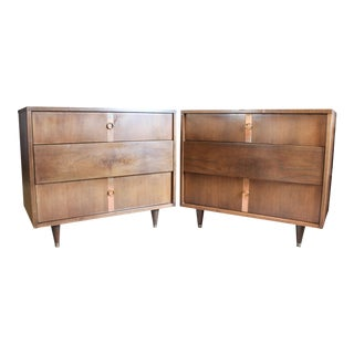 Kroehler Compact Walnut and Copper Accent Dressers - a Pair For Sale