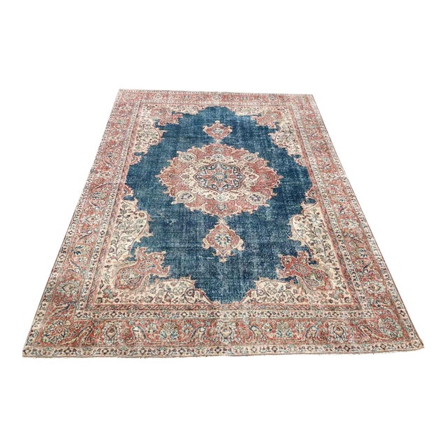 Large Distressed Oushak Rug For Sale