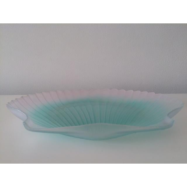 1970s Vintage Murano Aqua Glass Shell Bowl