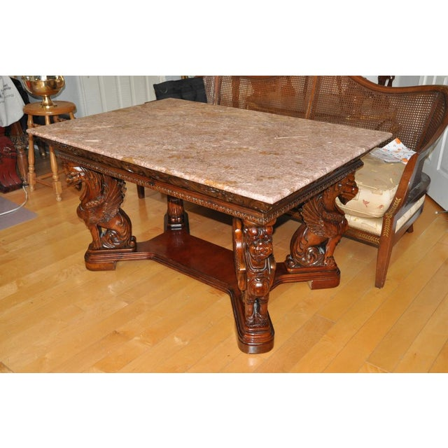 Wood Vintage Renaissance Style Wood Carved Winged Griffin Table and Pink Granite Top For Sale - Image 7 of 13
