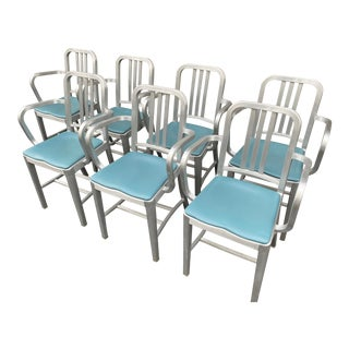 Emeco Navy Arm Chairs With Padded Seats - Set of 7 For Sale