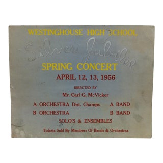 "1956 Vintage ""Silver Jubilee Spring Concert"" Sign For Sale"