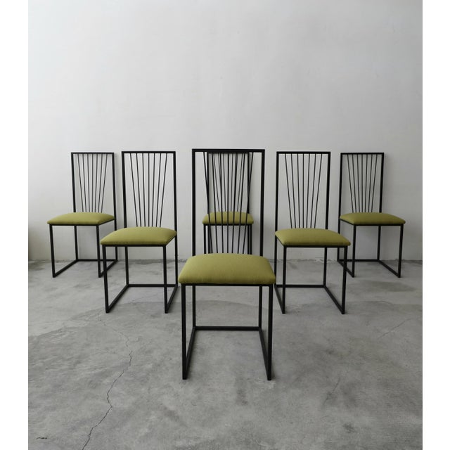 Great set of 6 Postmodern dining chairs. Constructed of metal frames, coated matte black. These beauties are the epitome...