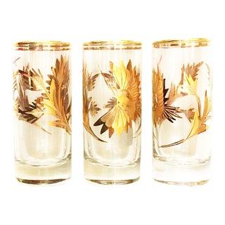 "Artesania Tabuisa Oro Shot Glasses, 14 Kt Gold ""Magic Bird"" Design For Sale"