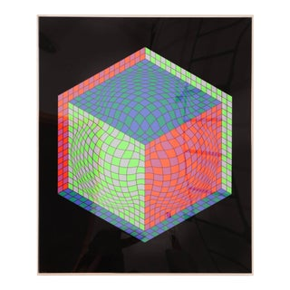 Signed Victor Vasarely Op Art Cube Serigraph For Sale
