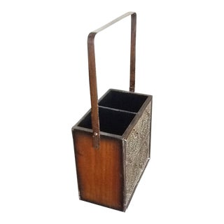 Wooden and Embossed Tin Wine Sachel For Sale