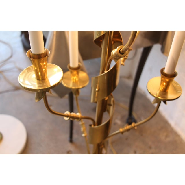 Italian Stilnovo Brass Candelabra Floor Lamps With Marble Bases - a Pair For Sale - Image 3 of 12
