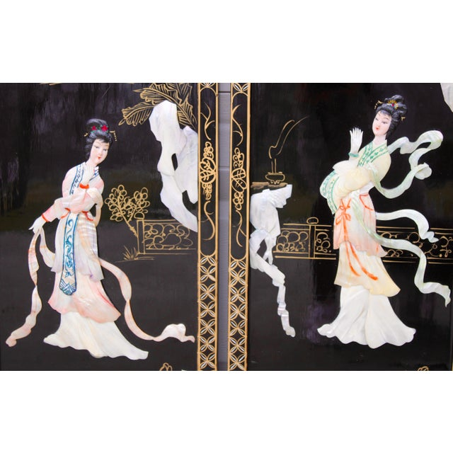 Asian Wall Panels Depicting Chinese Performers or Geishas For Sale - Image 9 of 13