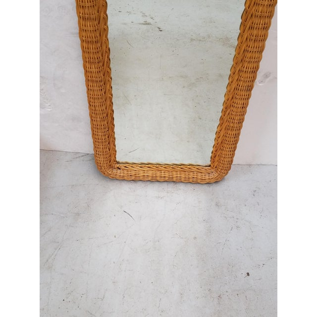 Boho Chic Tall Wicker Wall Mirror For Sale - Image 3 of 5