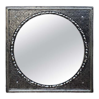Square Moroccan Metal Inlaid Mirror For Sale