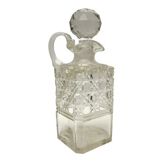 1890 Antique English Hobnail Cut Decanter For Sale