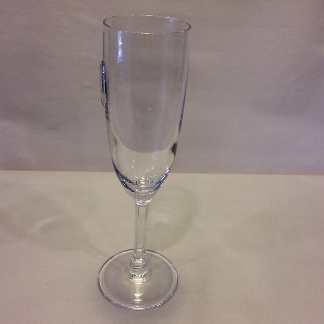 Italian Valenti Vintage Crystal Flutes - A Pair For Sale - Image 3 of 11