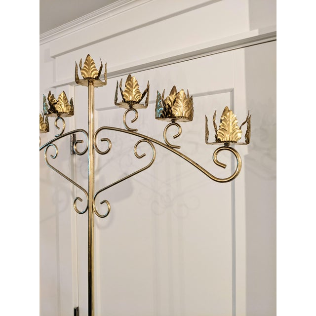 Art Nouveau Vintage Late 20th Century Brass Seven-Light Adjustable Floor Candelabras - a Pair For Sale - Image 3 of 8