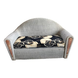 Postmodern Wicker Settee With Marble For Sale