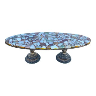 1960's Hollywood Regency Quartz & Agate Stone Coffee Table For Sale