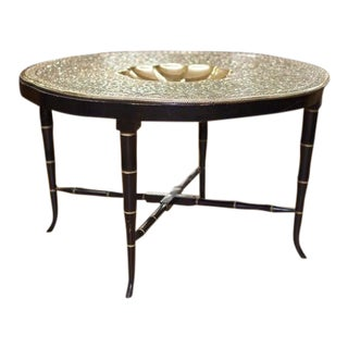 Embossed Brass Top Table For Sale