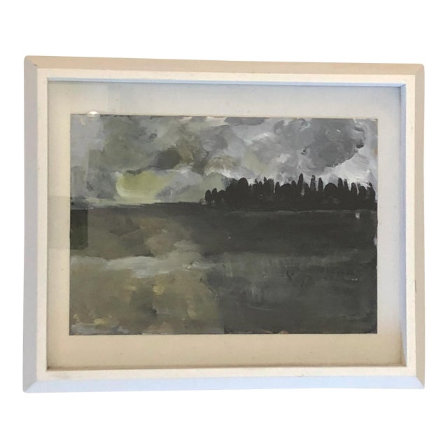 Acrylic on Paper Framed Landscape For Sale