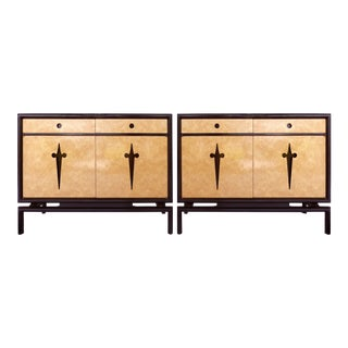 Edmund Spence Bird's Eye Maple Cabinets (Sweden C1960) - a Pair For Sale