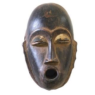 "African Baule Hand Carved Portrait Wood Mask 10"" H For Sale"