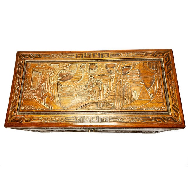 Asian Late 19th Century Antique Chinese Hand Carved Camphor Chest / Trunk For Sale - Image 3 of 10
