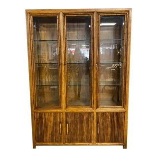 Mid Century Faux Bamboo Illuminated China Hutch For Sale